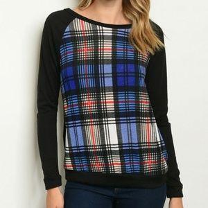 Tops - Black and Royal Blue Plaid Shirt Top